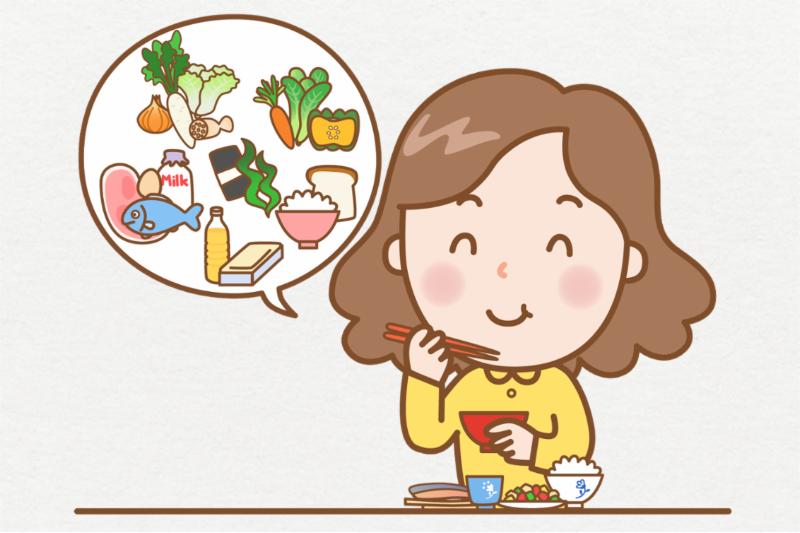 背景ありの写真、バランスの良い食事をする女性。